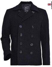 Seibertron Hombres Abrigo de Lana Tipo US Navy 80% Pea Coat USN Lana de estilo inglés