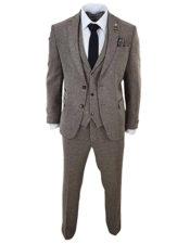 Traje Tweed Lana de 3 Piezas Color Roble de estilo inglés