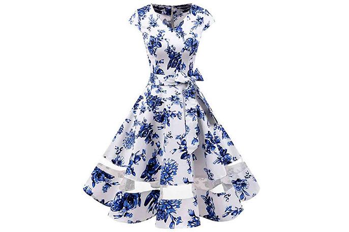Vestido cóctel azul de estilo inglés