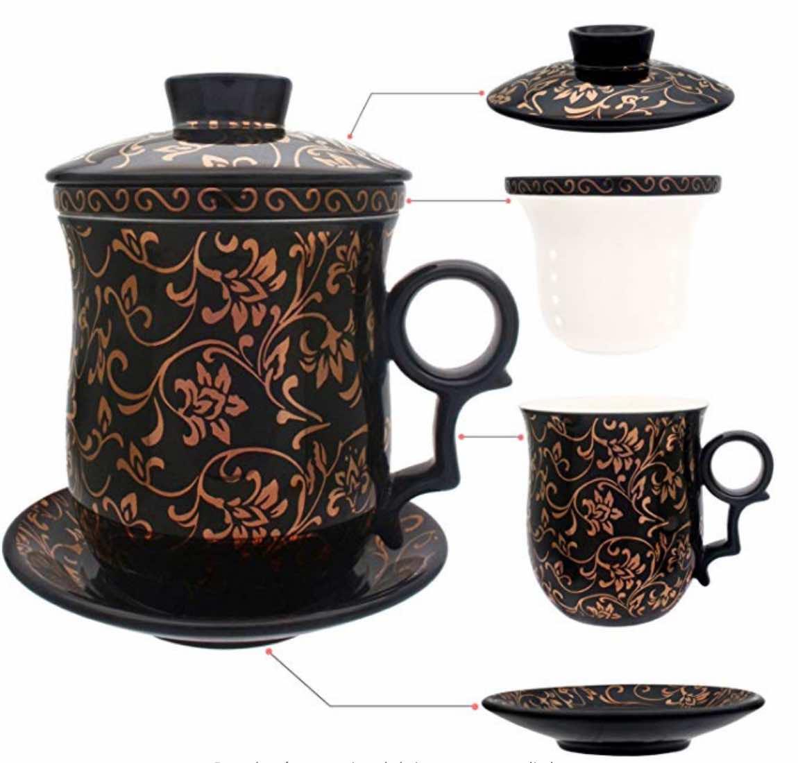 Taza de té de porcelana con tapa e infusor de platillo – Cerámica china Jingdezhen, taza de café, taza de té, sistema de preparación de té para el hogar y la oficina